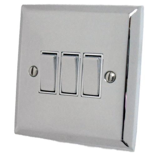 G&H SC203 Spectrum Plate Polished Chrome 3 Gang 1 or 2 Way Rocker Light Switch